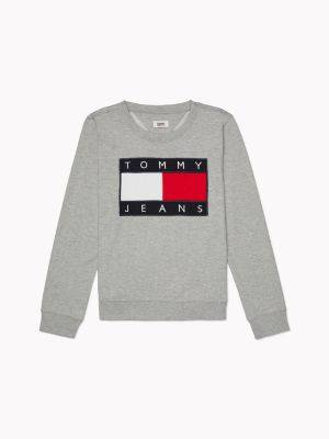 Tommy Hilfiger Women's Flag Sweatshirt Grey - XXS