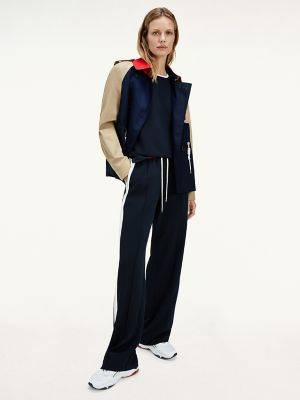 Tommy Hilfiger Women's Recycled Crepe Stripe Track Pant Desert Sky/ Fireworks/ White Colorblock - 4