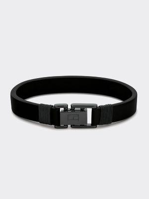 Tommy Hilfiger Men's Black Leather Bracelet Black -