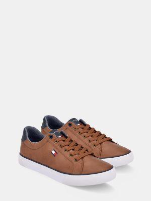 Tommy Hilfiger Men's Low-Cut Solid Sneaker Cognac/Navy - 13