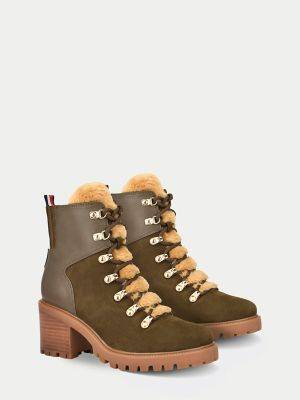 Tommy Hilfiger Women's Shearling Boot New Herb/Camel - 8