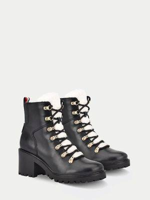 Tommy Hilfiger Women's Shearling Boot Black/Cream - 8.5