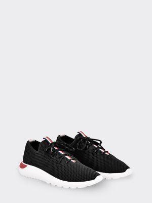 Tommy Hilfiger Women's Mesh Stripe Sneaker Black/Signature - 8.5
