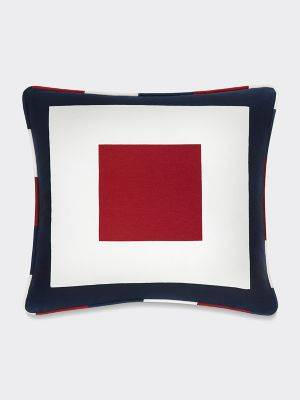 Tommy Hilfiger Women's Square Frame Decorative Pillow Red / White / Blue -
