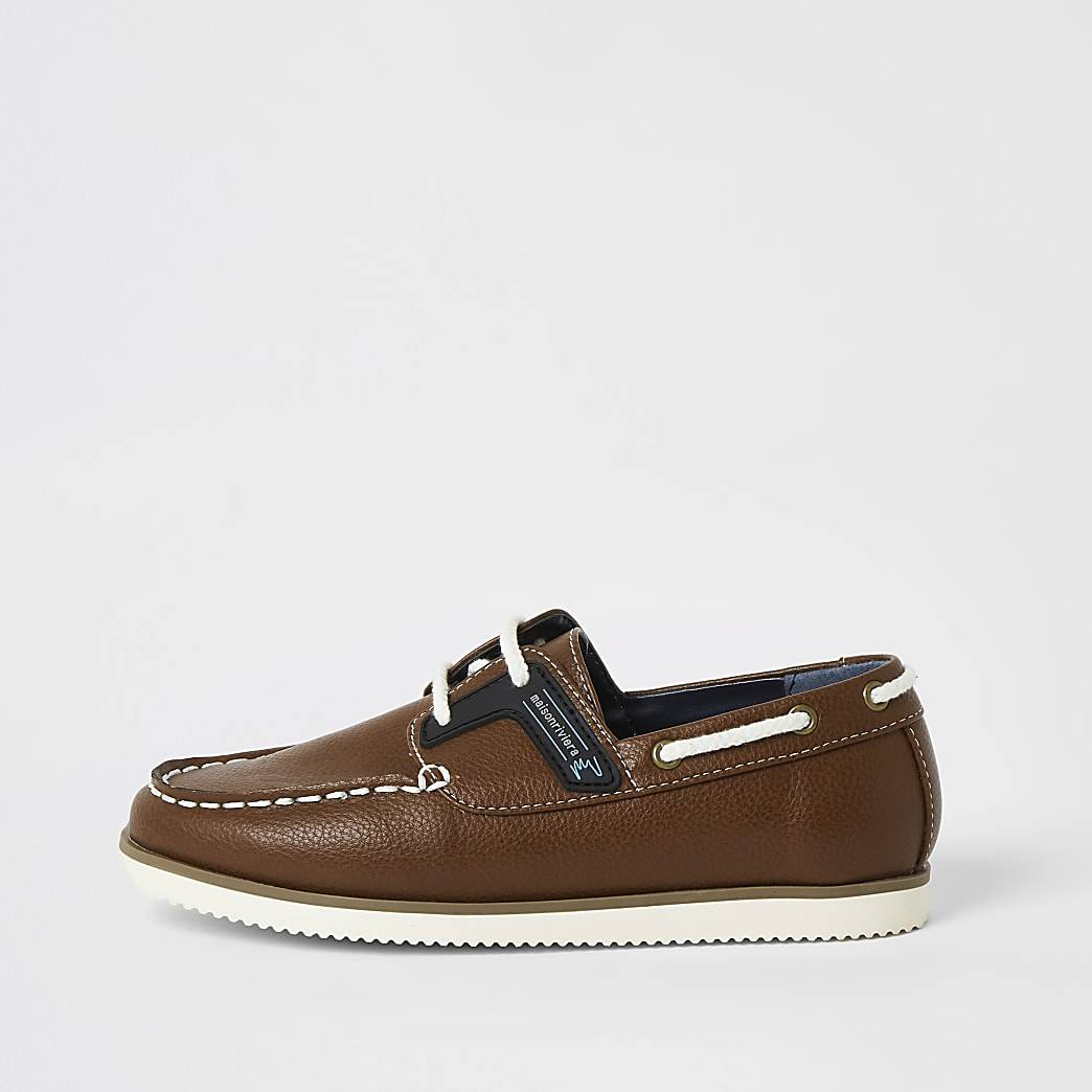 River Island Boys light brown lace-up boat shoes