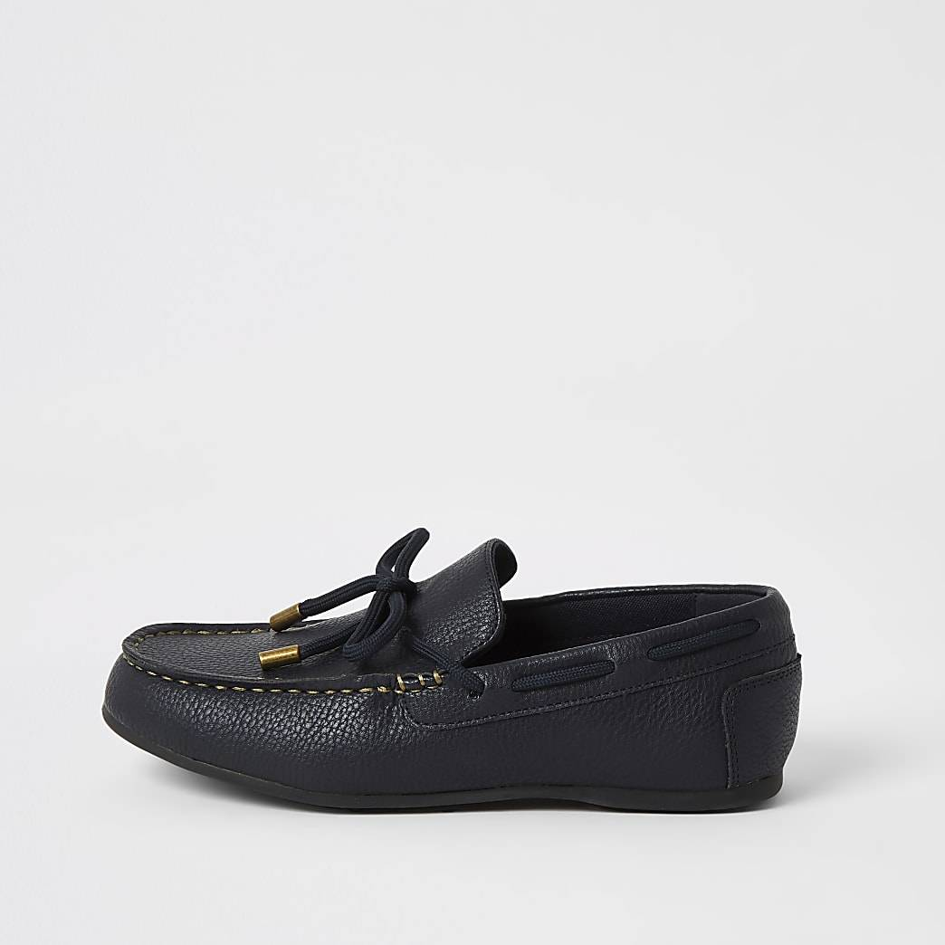 River Island Boys navy faux leather driver shoes