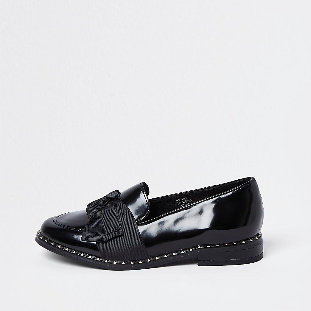 River Island Girls black grosgrain bow loafer shoes