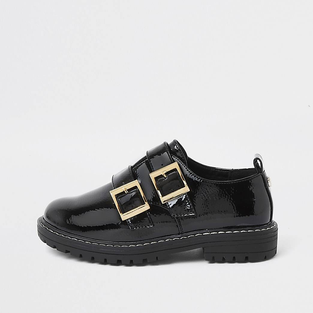 River Island Girls black patent double buckle shoes
