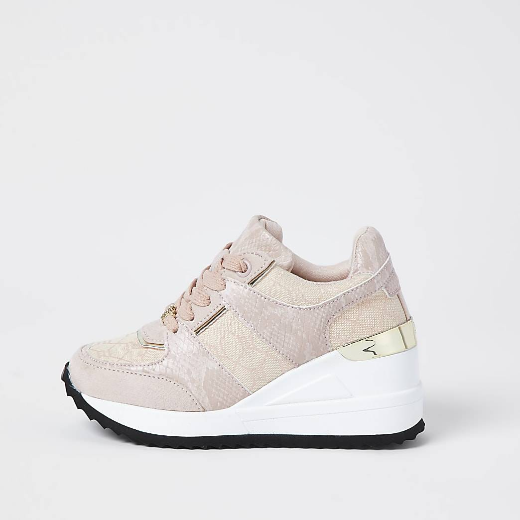 River Island Girls pink wedge lace up trainers