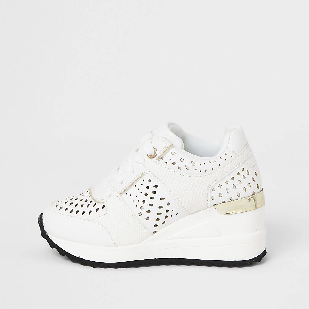 River Island Girls white wedge lace up trainer