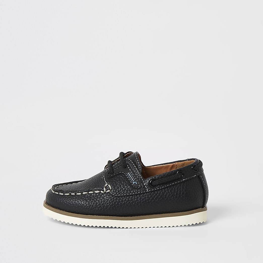 River Island Mini boys navy lace-up boat shoes
