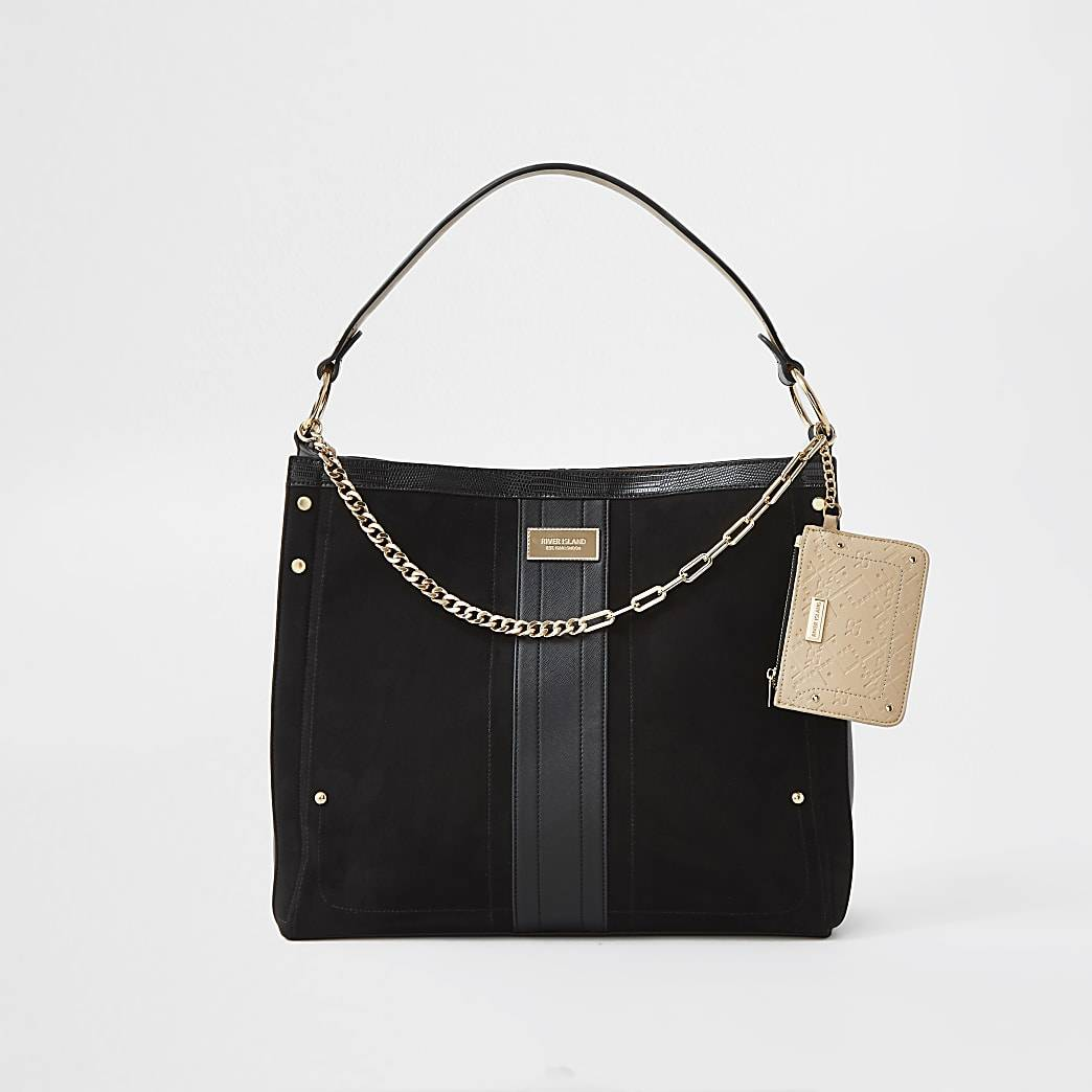 River Island Womens Black gold chain with mini pouch slouch bag