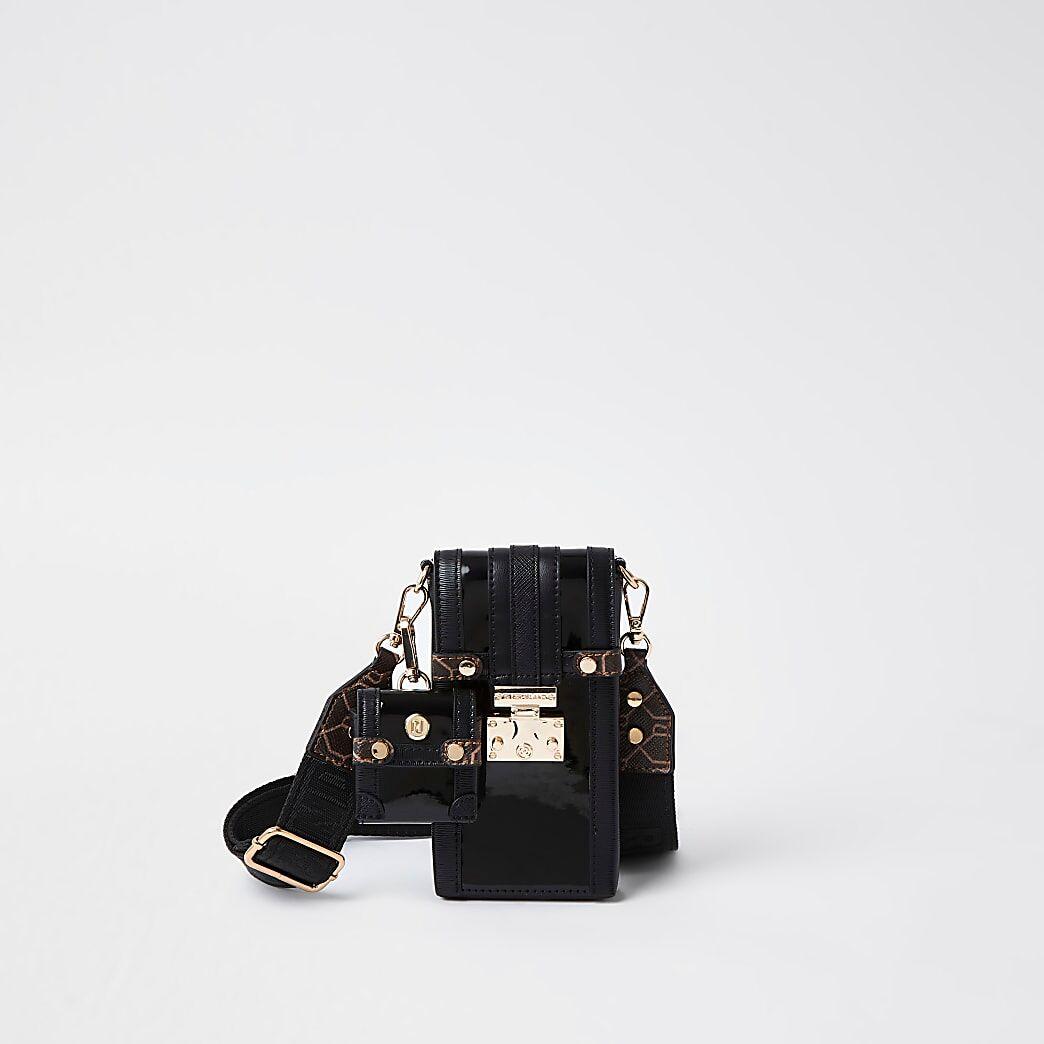 River Island Womens Black patent phone and airpod bag