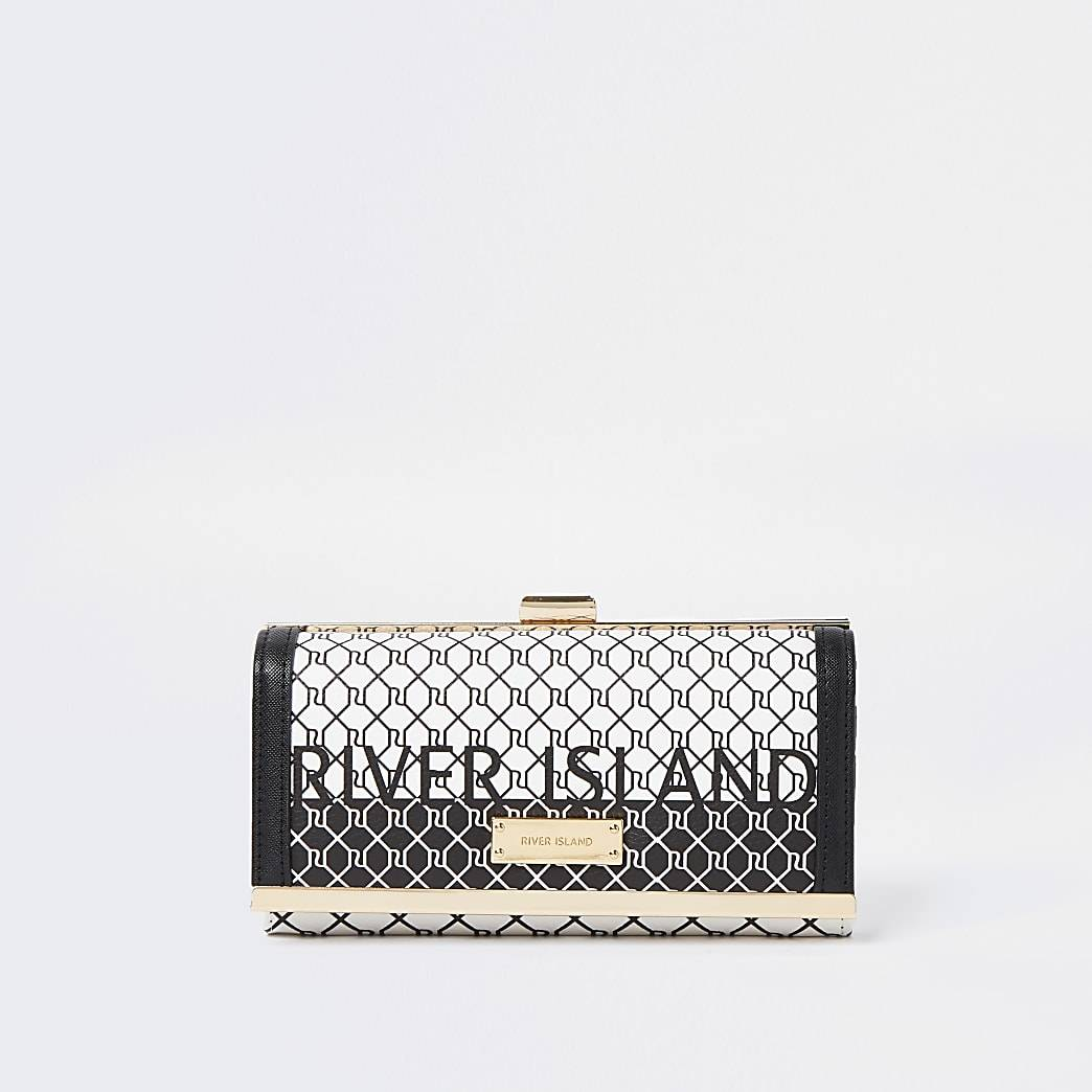 River Island Womens Black RI monogram cliptop purse