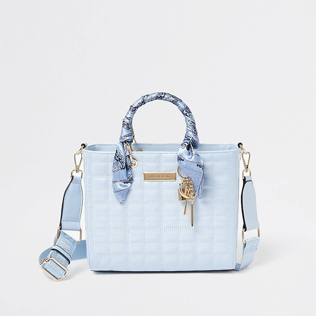 River Island Womens Blue RI boxy quilted tote bag