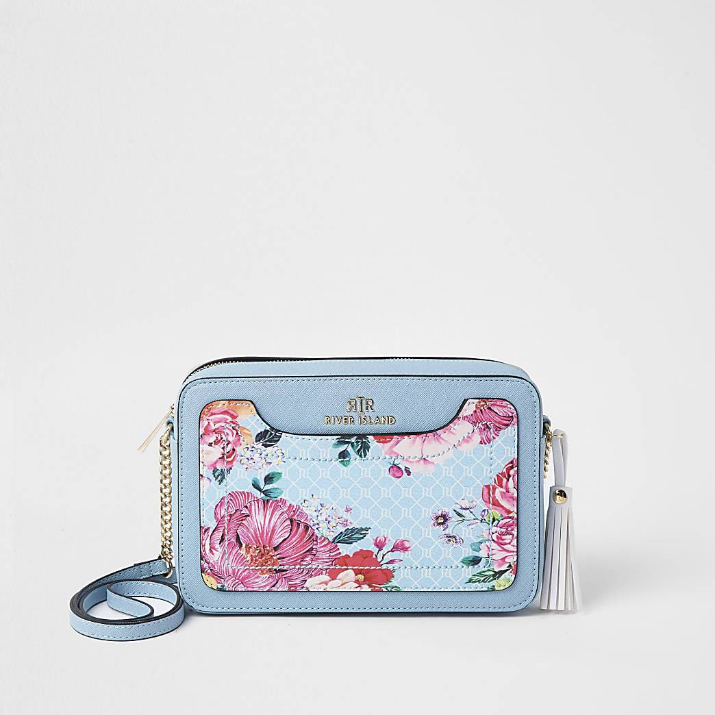 River Island Womens Blue RI monogram floral boxy cross body bag