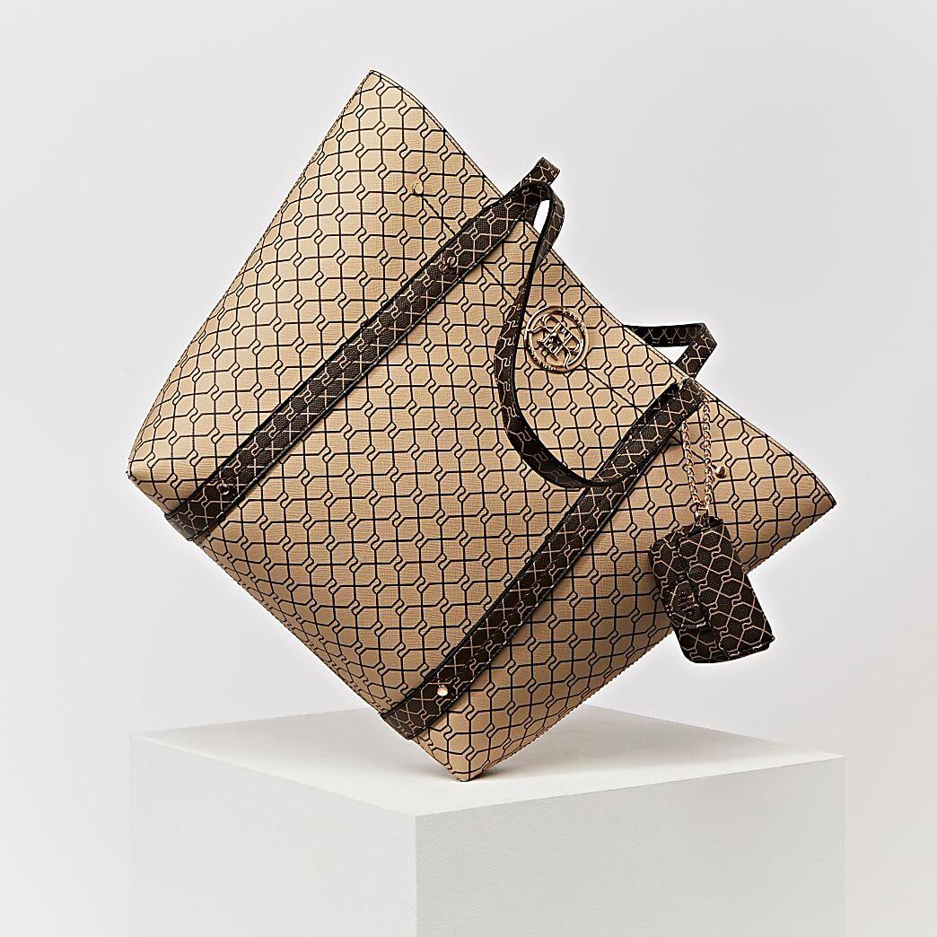 River Island Womens Brown RI monogram shopper and pouch bag