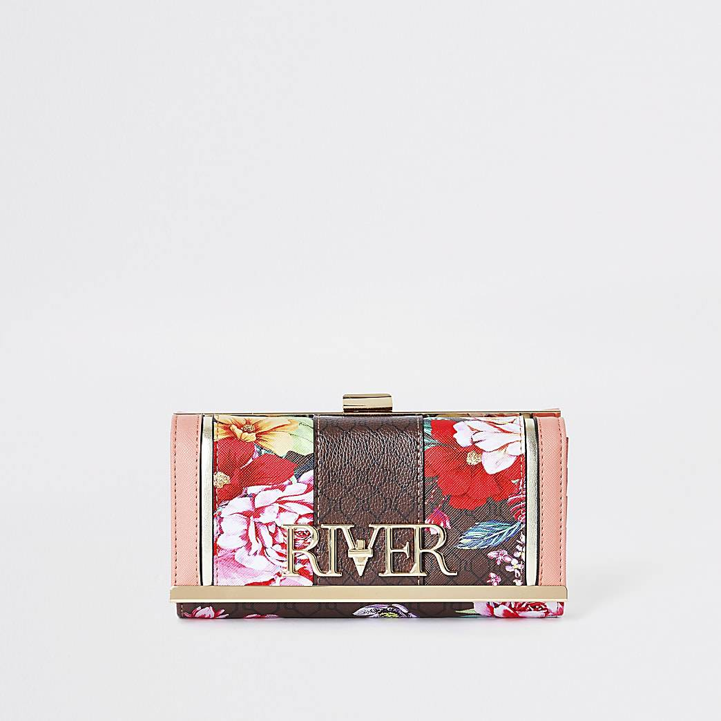 River Island Womens Brown 'River' floral monogram zip purse