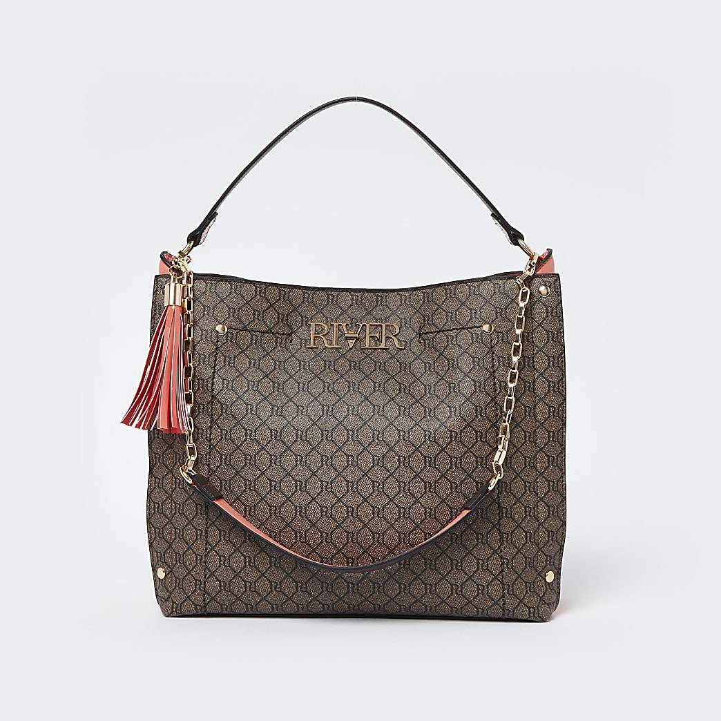 River Island Womens Brown 'River' monogram slouch bag