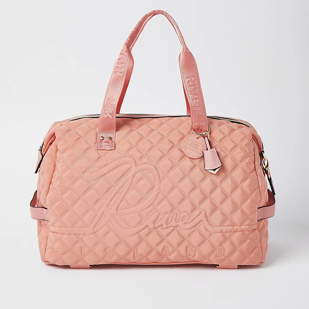 River Island Womens Coral quilted gym bag