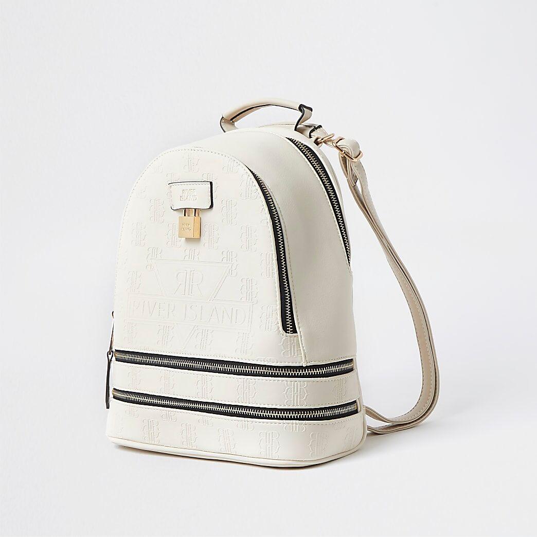 River Island Womens Cream RI embossed monogram backpack