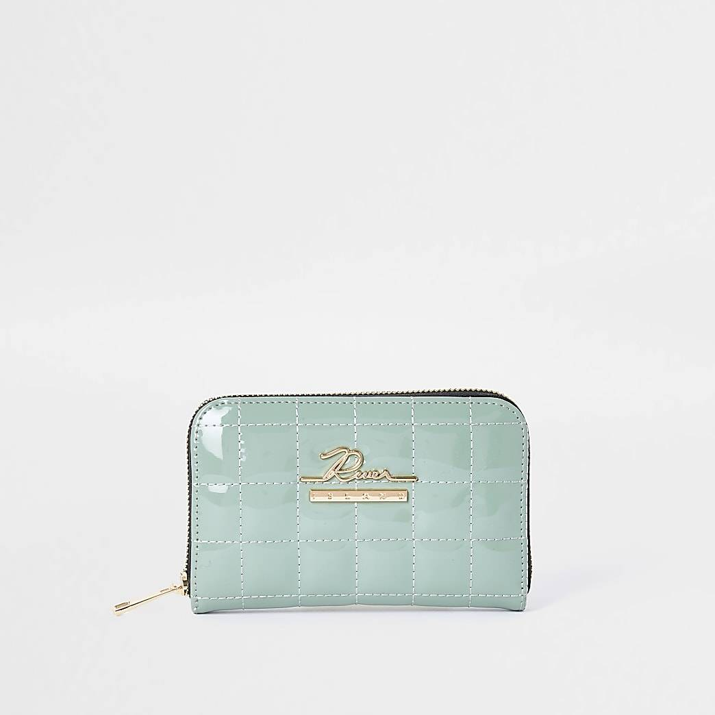 River Island Womens Green patent quilted ziparound purse