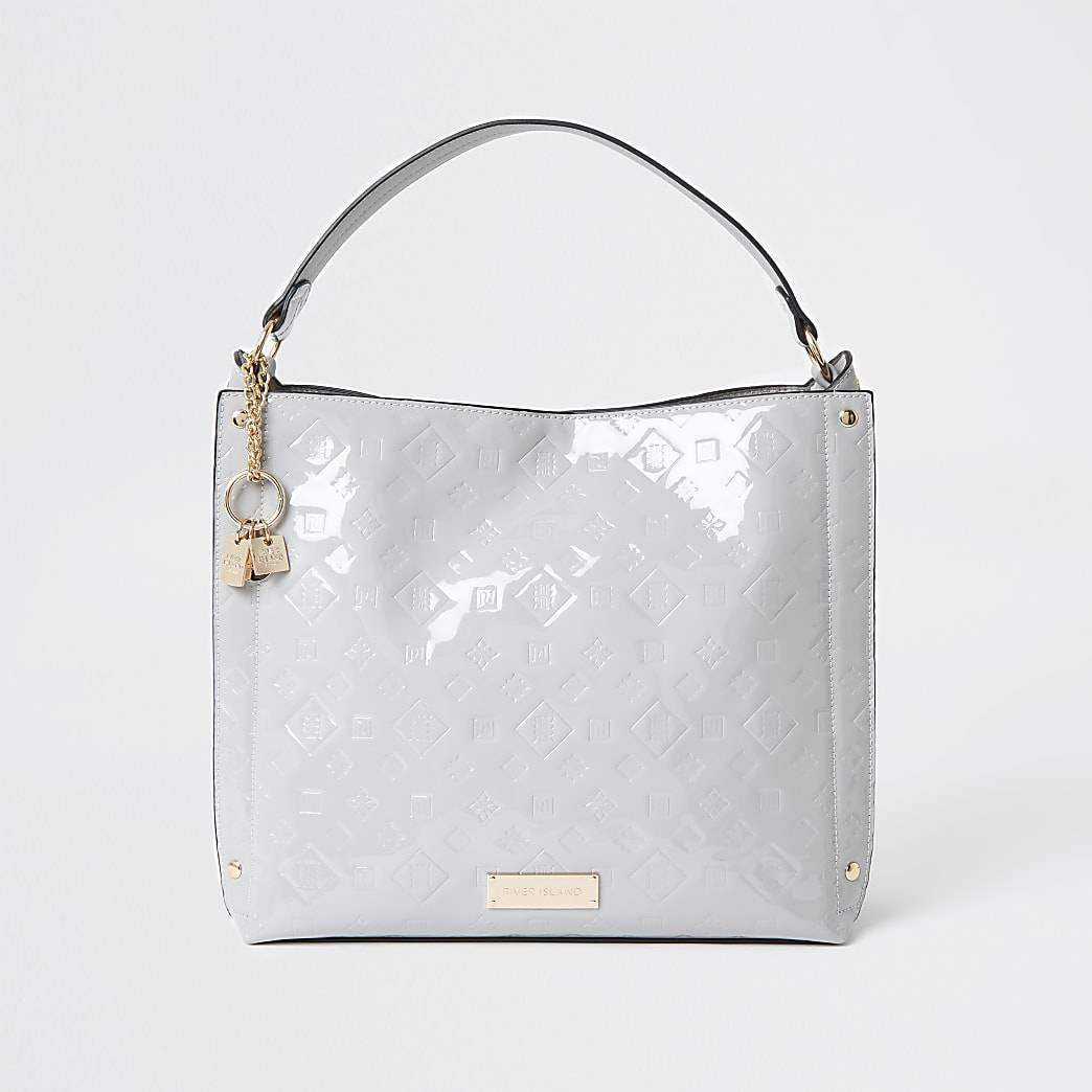 River Island Womens Grey patent embossed slouch bag