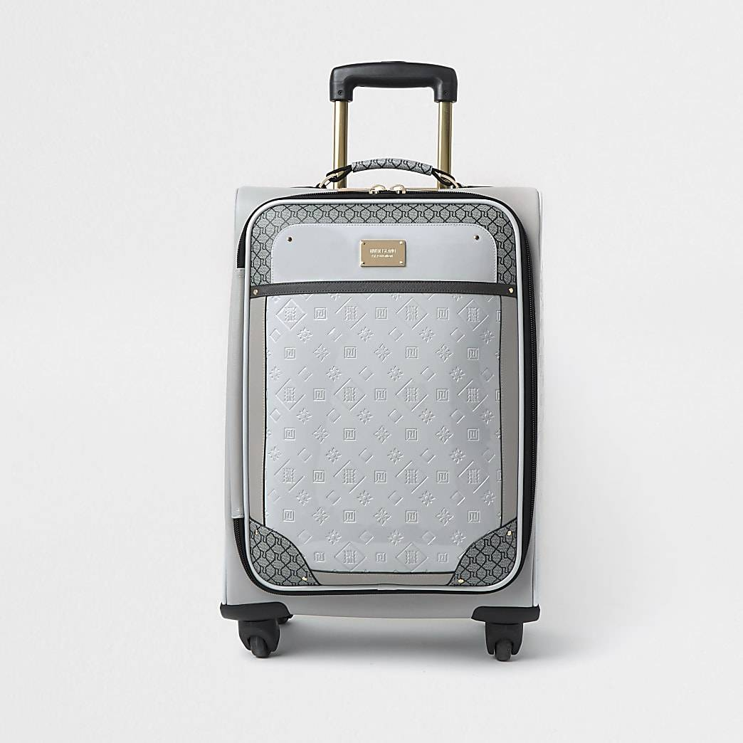 River Island Womens Grey patent monogram embossed suitcase