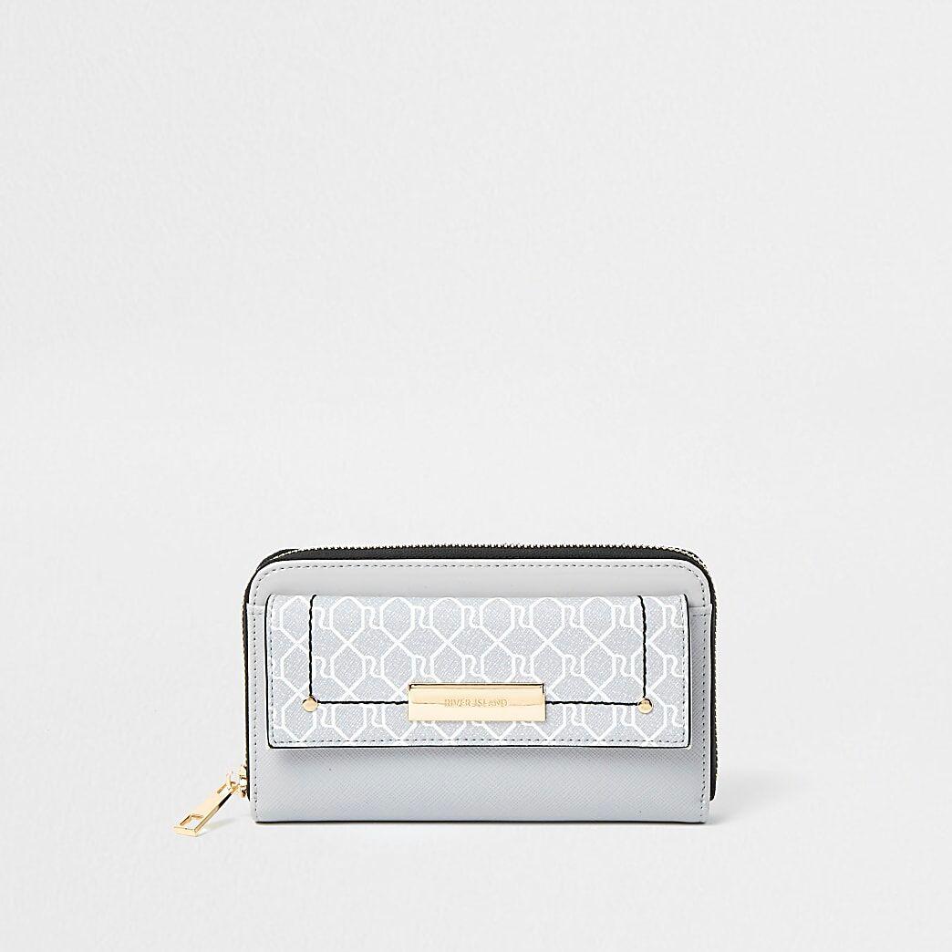River Island Womens Grey RI monogram front flap ziparound purse