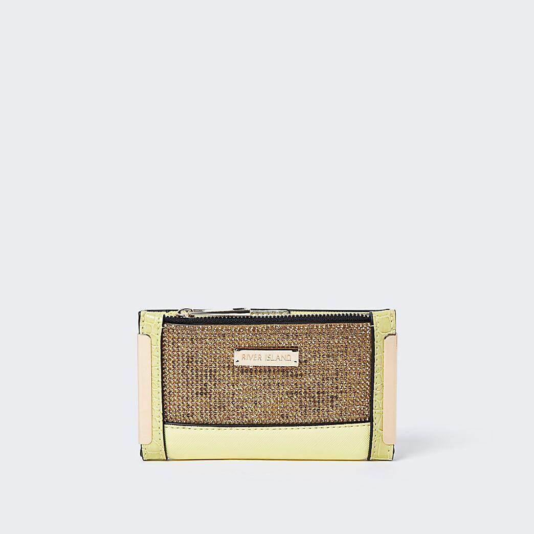 River Island Womens Yellow diamante mini foldout purse