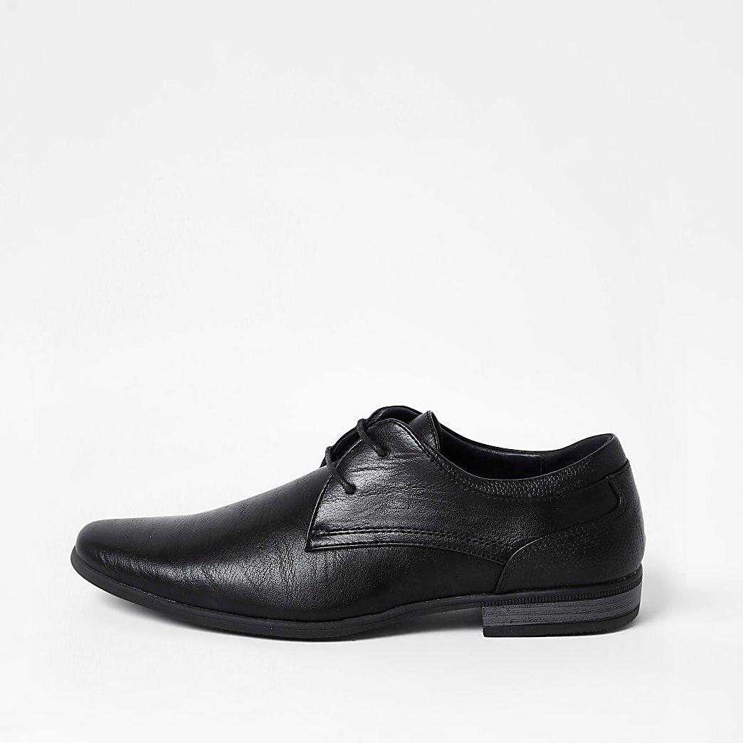 River Island Mens Black faux leather derby shoes