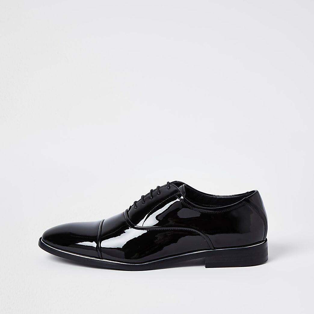 River Island Mens Black patent point toe shoes