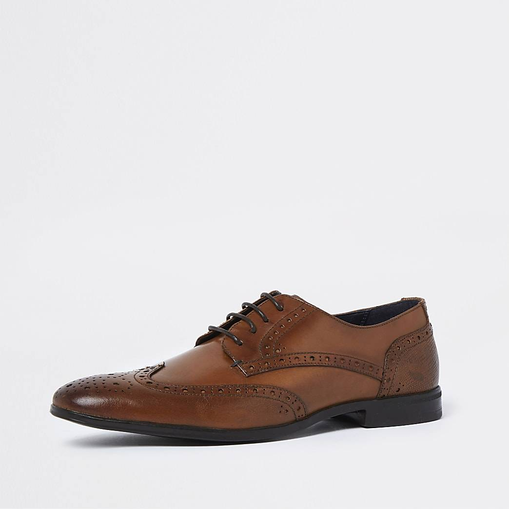 River Island Mens Brown lace up brogue derby shoes