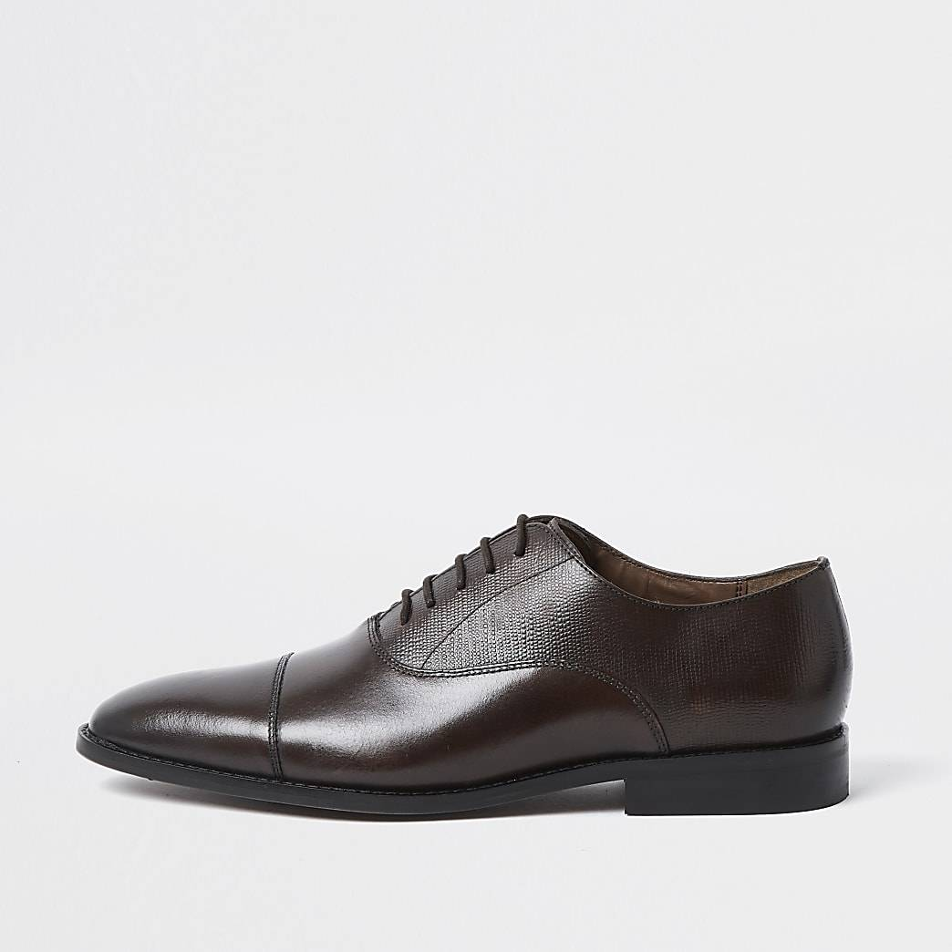 River Island Mens Brown leather Oxford shoes