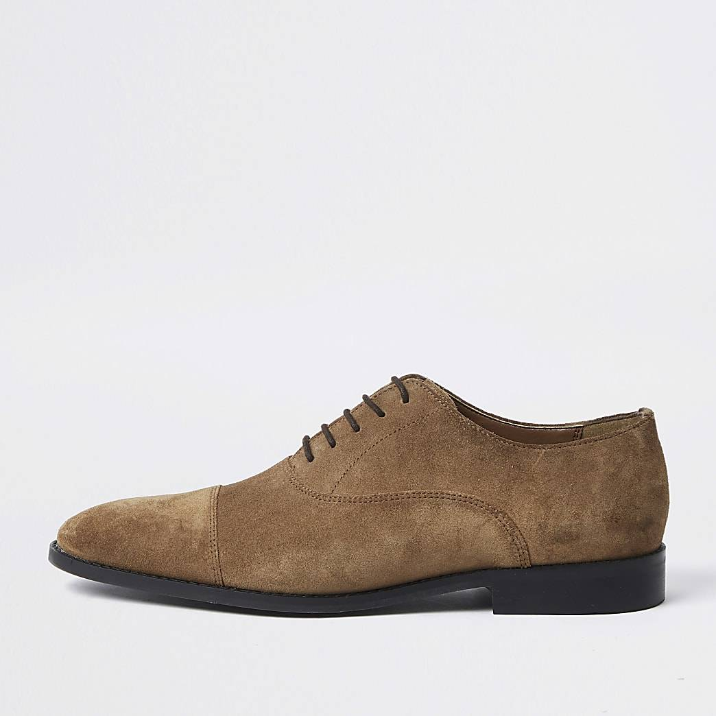 River Island Mens Brown suedette Oxford shoes