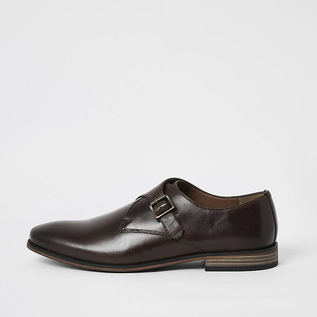 River Island Mens Dark brown leather monk strap shoes