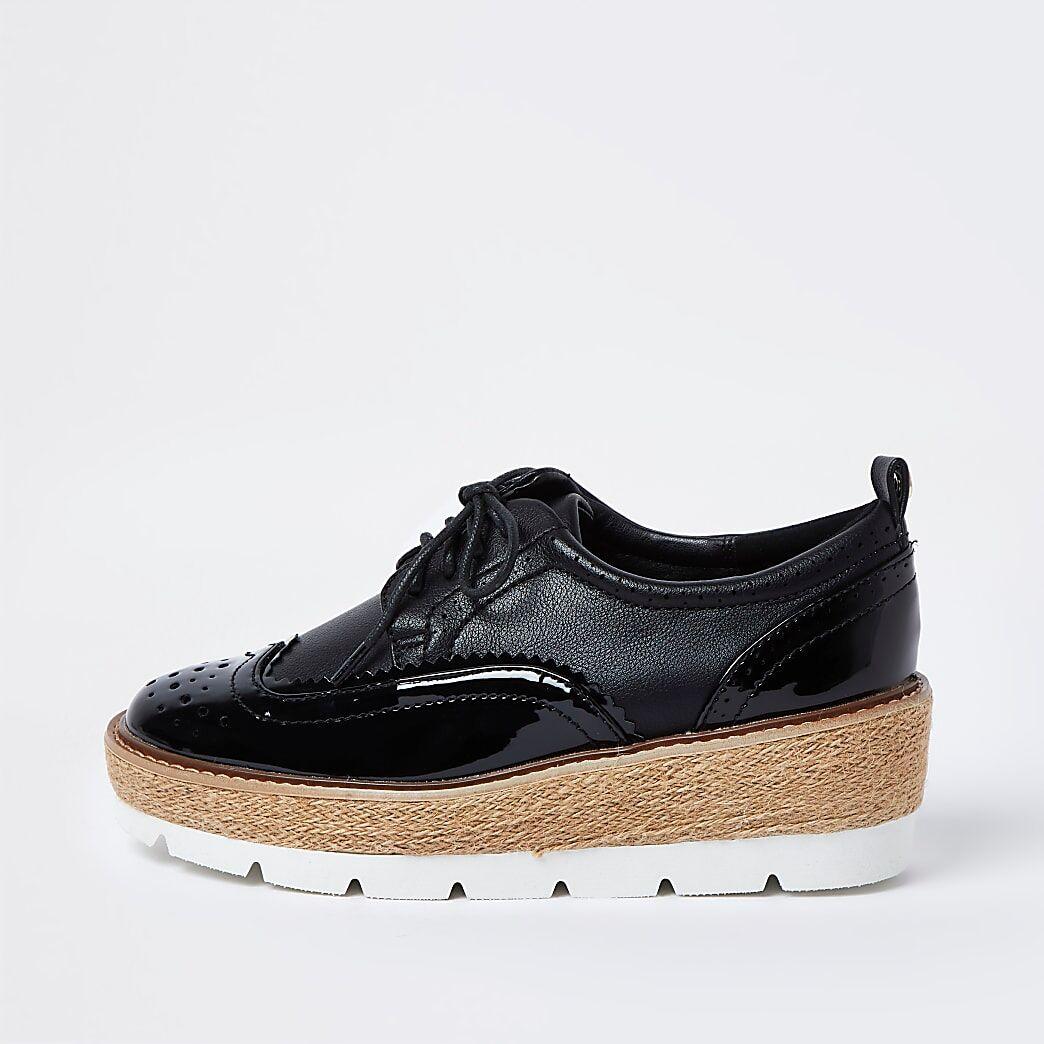 River Island Womens Black brogue wedge platform shoes