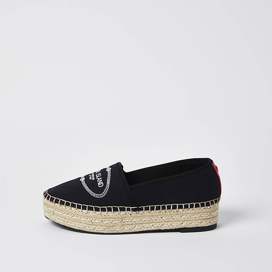River Island Womens Black RI woven espadrille shoes