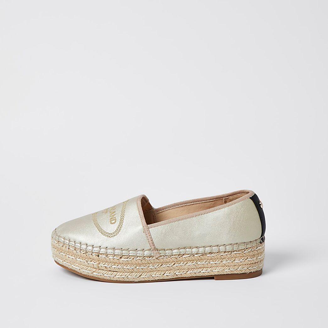 River Island Womens Gold RI woven espadrille shoes
