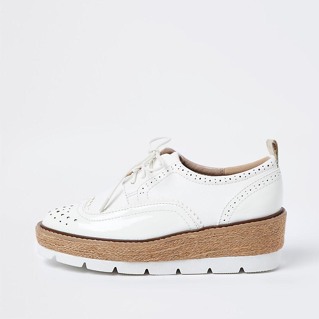 River Island Womens White brogue wedge platform shoes