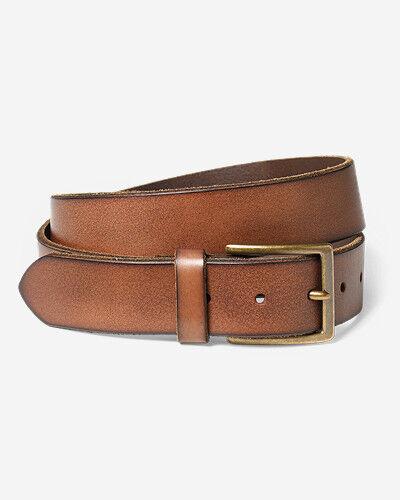 Eddie Bauer Men's Khaki Leather Belt  - Oak - Size: 40