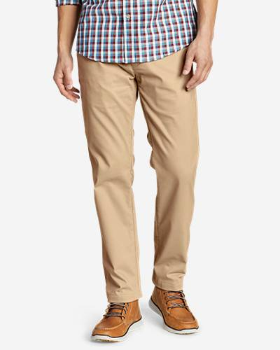 Eddie Bauer Men's Flex Wrinkle-Resistant Sport Chinos - Relaxed  - Saddle - Size: 33/34