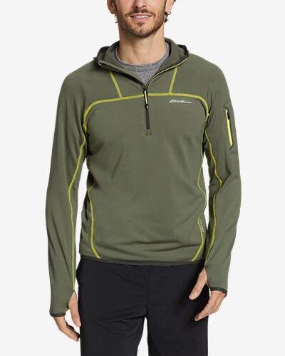 Eddie Bauer Men's High Route Grid Fleece 1/2-Zip Hoodie  - Sprig - Size: Medium