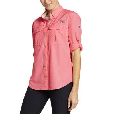 Eddie Bauer Women's Guide UPF Long-Sleeve Shirt  - Magenta - Size: Extra Small