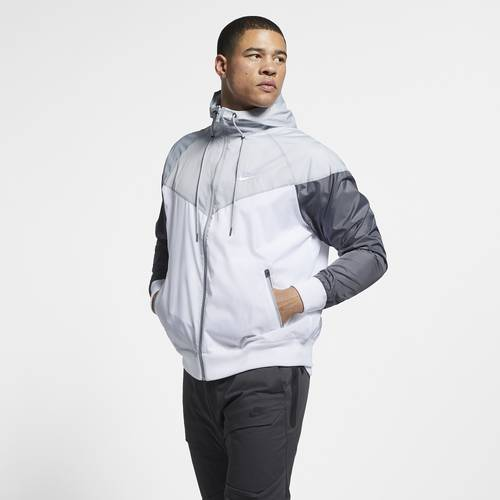 Nike Mens Nike Windrunner Hooded Jacket - Mens White/Wolf Grey/Dark Grey Size XL