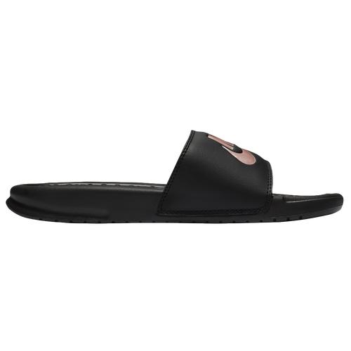 Nike Womens Nike Benassi JDI Slide - Womens Shoes Black/Rose Gold/Black Size 09.0