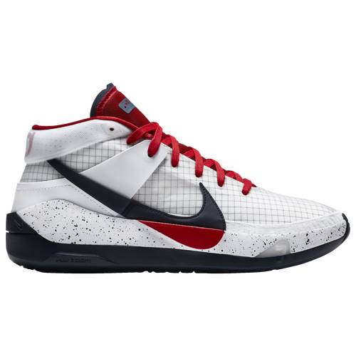 Nike Mens Kevin Durant Nike KD 13 - Mens Basketball Shoes White/Sport Red/Obsidian Size 10.5