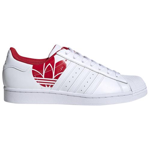 adidas Originals Mens adidas Originals Superstar - Mens Basketball Shoes White/Scarlet Size 10.5