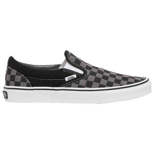 Vans Mens Vans Classic Slip On - Mens Skate Shoes Black/Gray Size 09.5