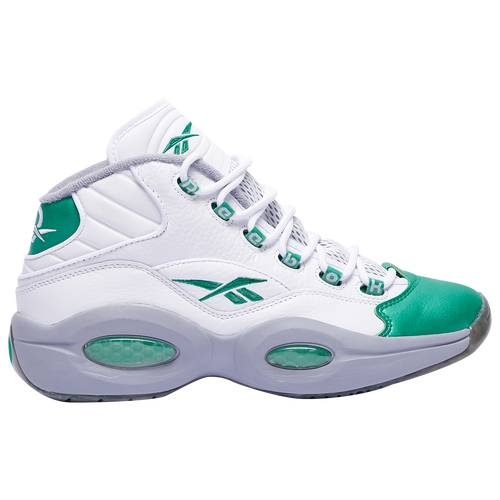 Reebok Mens Reebok Question Mid Gridiron - Mens Basketball Shoes White/Green/Grey Size 11.5